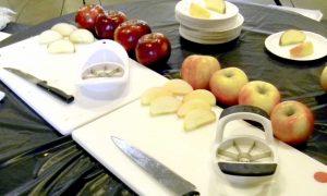 Honeycrisp and Cosmic Crisp® apples being prepared for consumer taste testing