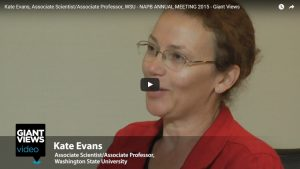 """Video thumbnail showing Kate Evans speaking, the Giant Views video logo, and the text """"Kate Evans Associate Scientist/Associate Professor, Washington State University"""""""